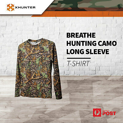 Xhunter Breathe Hunting Long Sleeve T-shirt Real Tree Leaf Camo Outdoor Camping