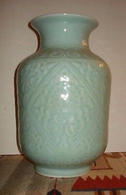 """12"""" Antique Chinese Meiping Longquan Celadon Vase Qing, Early Republic Excellent"""