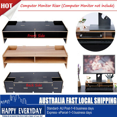 New 2 Layer Wooden Monitor Stand LCD Computer Monitor Laptop Riser Desktop AU