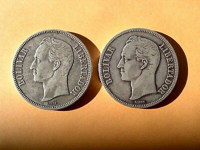 Lot Of 2 Venezuela Silver Bolivars ~ From The Glory Days ~ No Reserve!