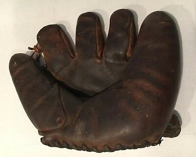 Old Antique Early 1940's Goldsmith ELMER RIDDLE Leather Baseball Glove Vintage