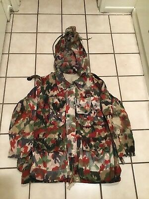 Vtg Swiss Hunting Paratrooper Military Alpenflage Camo Field Chore Jacket