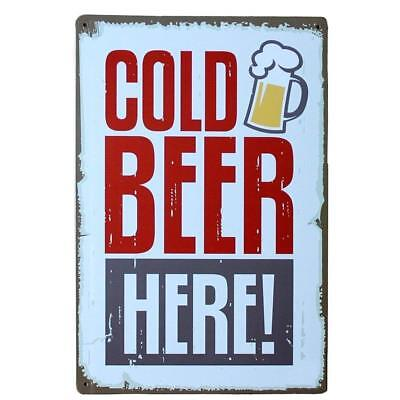 Cold beer here Retro Metal Tin Sign Hotel Home Decor Bar Pub Wall Poster plaque