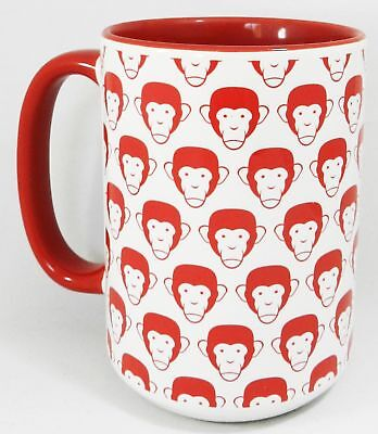 The Big Monkey Man Extra Large Mug with red inner and handle by Half a (w9S)