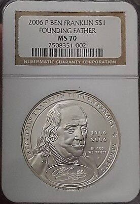 2006 P Ben Franklin S$1 Founding Father Silver Dollar NGC MS 70 PERFECT COIN