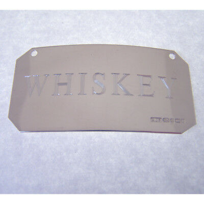 "Hallmarked Silver ""whiskey"" Decanter Label.  Sterling Silver Whiskey Wine Label"
