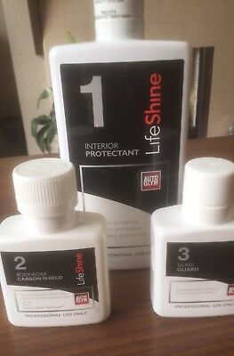 autoglym lifeshine Interior Protectant &Bodywork Carbon Shield &Glass Guard