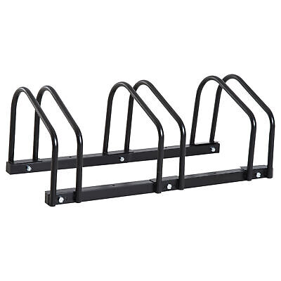 HOMCOM 3 Bicycle Parking Stand Bike Floor Mount Steel Pipe Cycle Holder Black