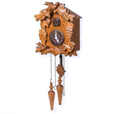 Wooden Cuckoo Clock Vintage Handcrafted Carved Maple Leaf Pine Cones Chain Weigh