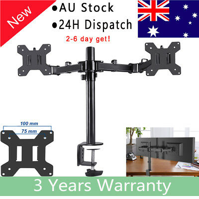 """Dual Monitor Articulating Desk Stand Mount Adjustable Fits Screens upto 27"""""""