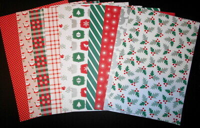 A4 Patterned Christmas Paper 190gsm x 12 ~ HOLLYDAY ~ Scrapbooking/Cards