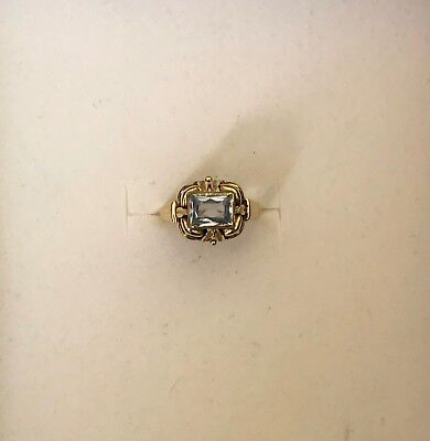 Antique Art Nouveau 14K Solid Gold Ring With Natural Blue Topaz 3.20 gr