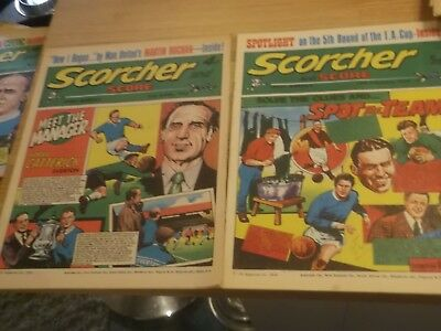 2 Early 1970S Scorcher And Score Comics With Everton  Football Club On Covers