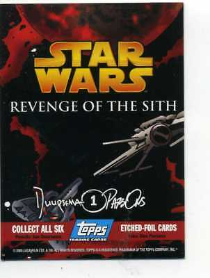 STAR WARS  REVENGE OF THE SITH ETCHED FOIL CARD No. 1