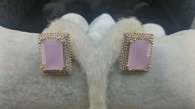 AAA Quality 925 Sterling Silver  Jewelry Pink Chalcedony Ladies Square Earrings