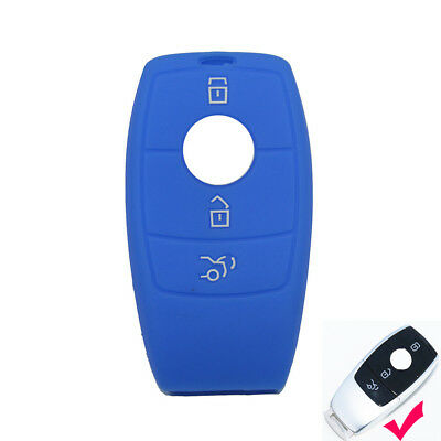 Blue Silicone key cover case For Mercedes Benz E Class W213 2017 2018 Remote Fob
