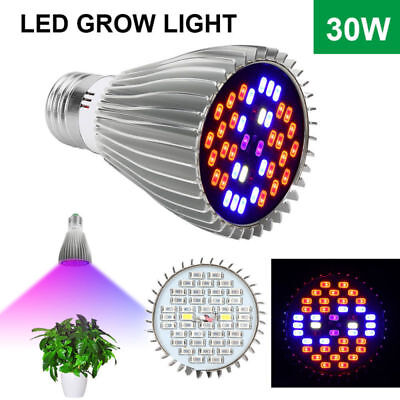 30W E27 Full Spectrum LED Grow Light Bulb Lamp UV IR For Indoor Plant Vegetable