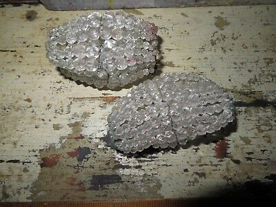 beautiful Vintage Antique Crystal Beaded Bulb Cover Lamp Shade lot of 2