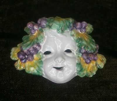 Handmade Glazed Clay Ceramic Mask  Bacchus Greek Roman God Wine Pottery Deity