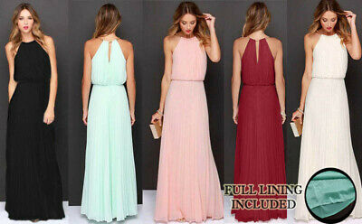 Long Chiffon Evening Formal Party Ball Gown Prom Bridesmaid Maxi Dress All Sizes