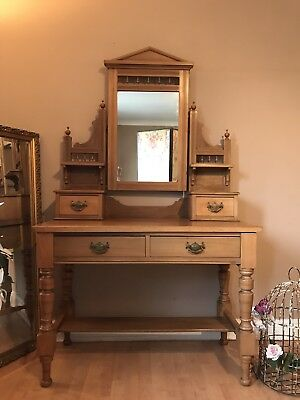 Antique Dressing Table with Drawers and Adjustable Mirror