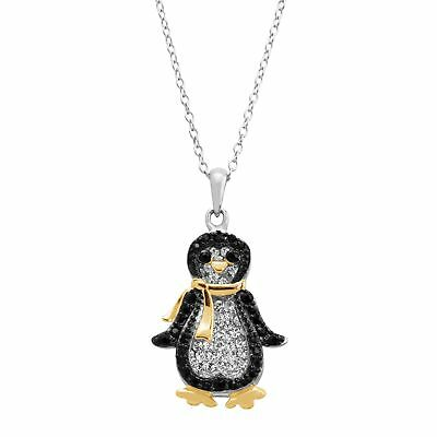 Penguin Pendant with Swarovski Crystals in 18K Gold-Plated Sterling Silver