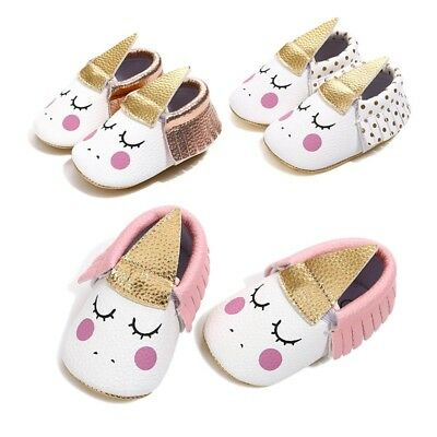 Infant Baby Girl Unicorn Walker Cute Sole PU Leather Tassel Moccasins Crib Shoes