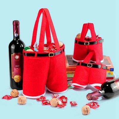 Fashion Merry Christmas Santa Claus Pants Wine Bottle Candy Gift Bag Chic Decor
