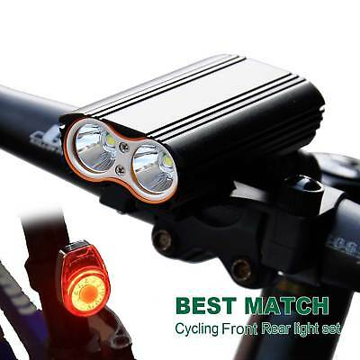USB Rechargeable Bike Bicycle Cycling LED Front Light 14 Mode Rear Tail Lamp Set