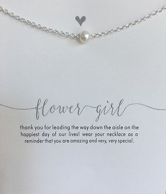 Flower Girl pearl Silver necklace Choker  card Message Wedding Gift Bridesmaid y