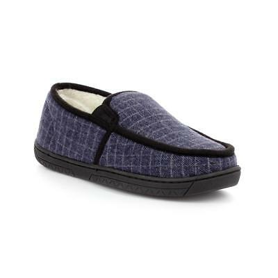 The Slipper Company Mens Navy Moccasin Slipper - Sizes 6,7,8,9,10,11,12