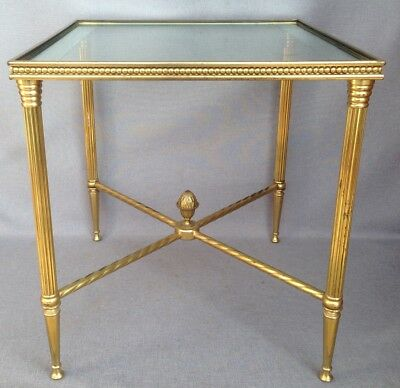 Vintage french coffee table gueridon made of metal 1970's Louis XVI style