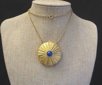 "Vintage Ladies ""Estee Lauder"" Solid Perfume Pendant Gold Tone and Chain"
