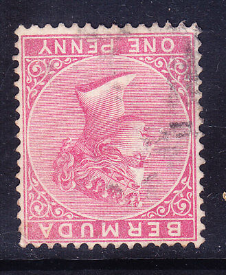 BERMUDA QV 1883 SG23w 1d rose-red wmk Crown CA inverted good to fine used cv£375