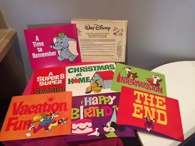 Disney Full Color Title Cards Home Movies (7 0f 8) - Vintage FREE SHIP