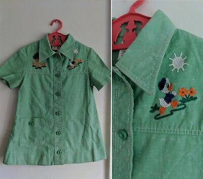 RETRO vtg 1970s ST MICHAEL GREEN EMBROIDERED COTTON DRESS 1960s AGE 5 DUCK TREE