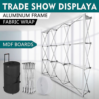 8' Pop-Up Tension Fabric Trade Show Display Booth Frame Stand Pop up Free Case