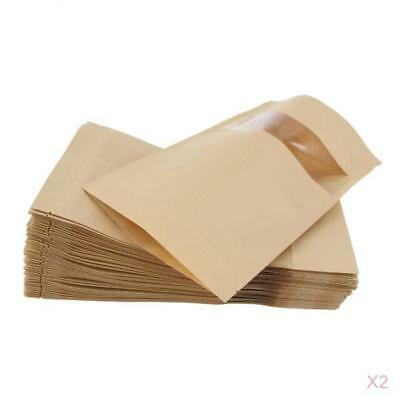 100x Kraft Paper Bag Stand Up Pouch Food Zip Lock Packaging w/Window 16x22cm