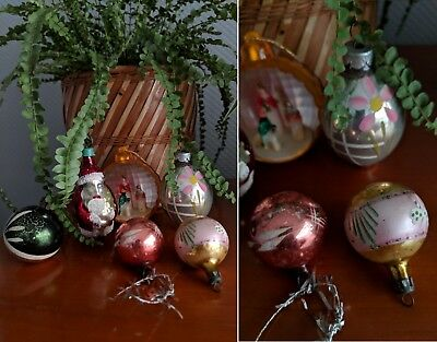 kitsch vtg 1950s set of 6 mixed glass christmas baubles 3d nativity father xmas - 1980s Christmas Decorations