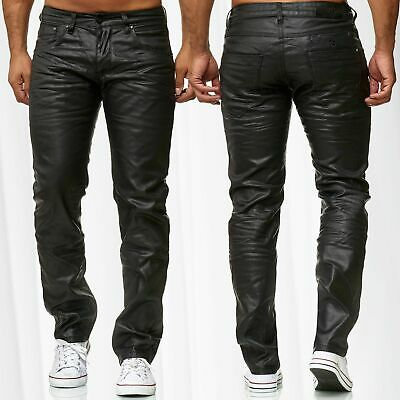 Herren Jeans Hose Coated Slim Glanzhose Beschichtet Leder Optik Glanz Gewachst
