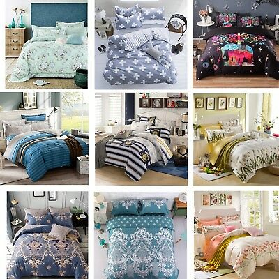 2018 New Soft Duvet Quilt Cover Set Single Double Queen King Size Bed Set