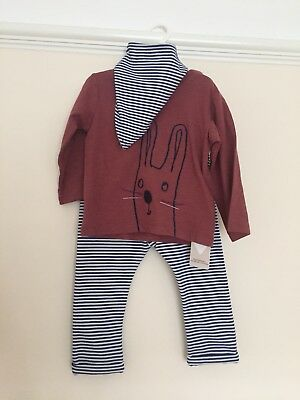Marks And Spencer Baby Set Top Trousers Bib Stripes Size 12 - 18 Months New Tags