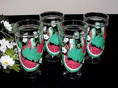 Vintage Watermelon Drinking Glasses (4) Leaves Flowers Anchor Glass Co.