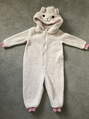 Girls Cream Fleece All In One (2-3 Years) Blue Zoo