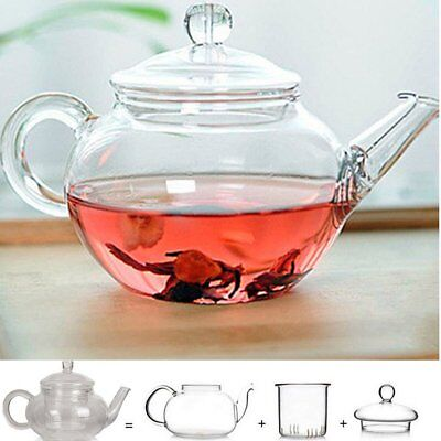 Heat Resistant Clear Glass Teapot With Infuser Coffee Tea Leaf Herbal Pot 250GX
