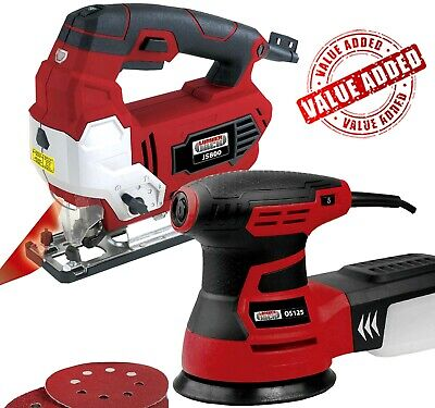 Lumberjack Variable Speed Jigsaw with Laser & 125mm Random Orbital Sander 240v