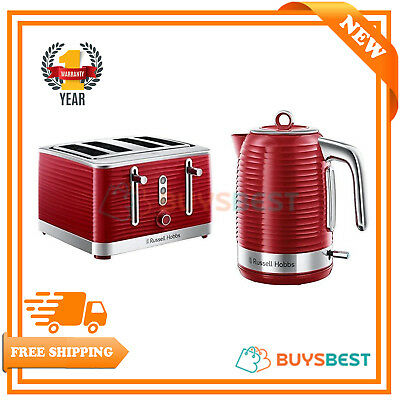 Russell Hobbs Inspire 1.7 L Electric Jug Kettle & 4 Slice Toaster Set - Red