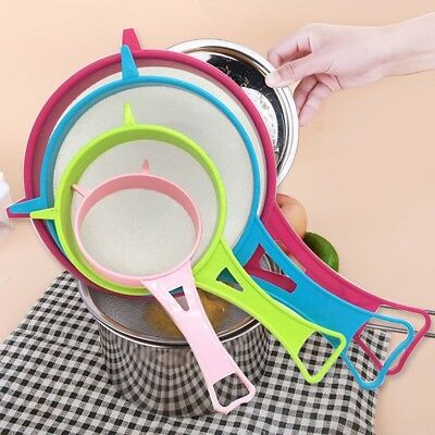 4pcs Plastic Fine Powder Mesh Strainer Sieve Colander W/Handle Kitchen Tool New