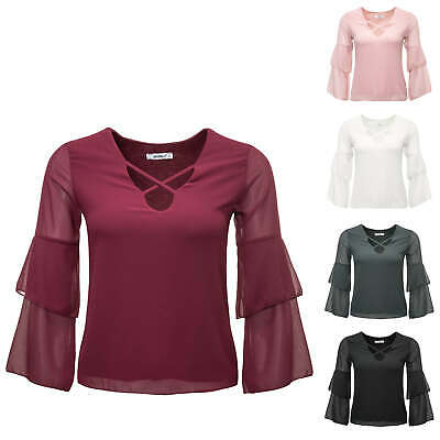 Hailys Damen Langarmbluse Blusenshirt Shirt Top Lace-Up Shirt Leichte Bluse SALE