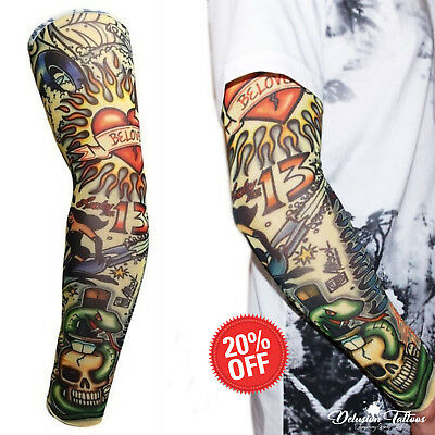 Temporary Tattoo Sleeve Nylon Arm Stocking Skull Halloween Mens Womens Kids UK